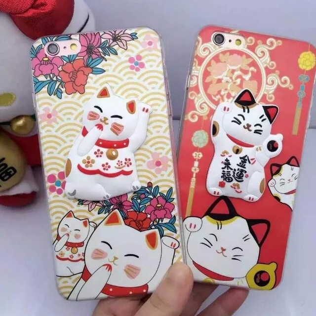 3D Cute Lucky Cat Chinese Knot Soft Transparent frame Case Cover Protection iphone6 6s 6plus capa cover apple - Phone accessories suppermarket store