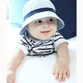 Cotton Toddler Infant Sun Cap Summer Outdoor Baby Hat Brimmed Sun Beach Bucket Hat 3 Colors