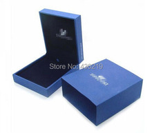 pretty luxurious package jewelry boxes blue oblong shape necklace and earring jewelry boxes made with paper and wood(China (Mainland))