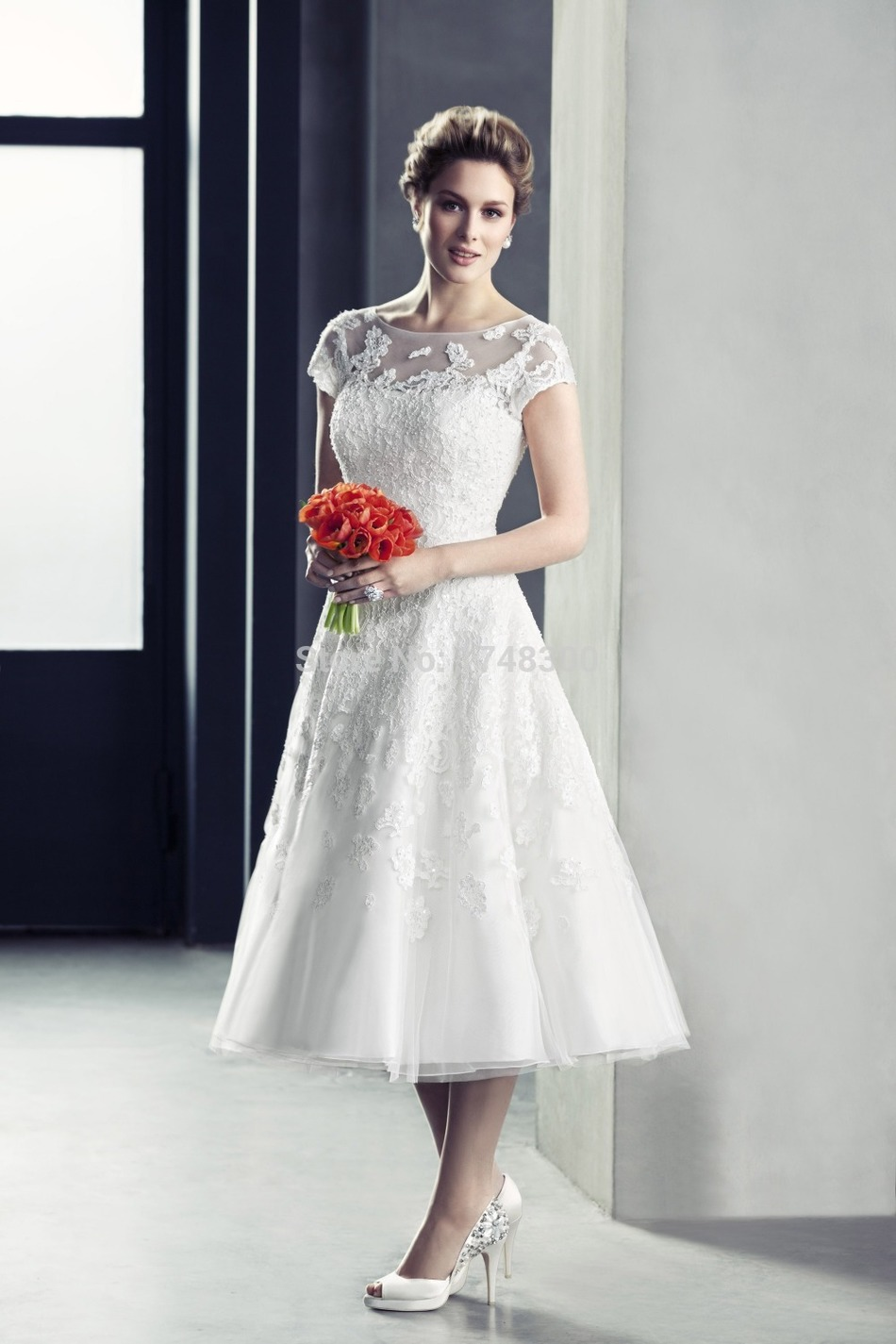 2015 euro little white tea length wedding dresses short for Short tea length wedding dresses