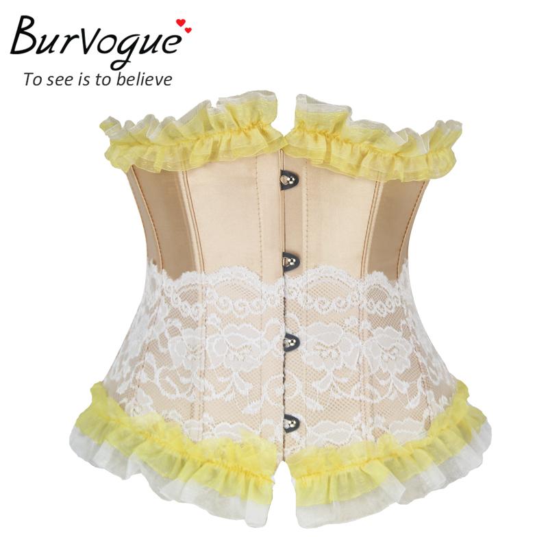 Burvogue espartilhos corset corselet corset lace 2015 Sexy Woman Waist Training Corset Slimming Underbust Control Corset