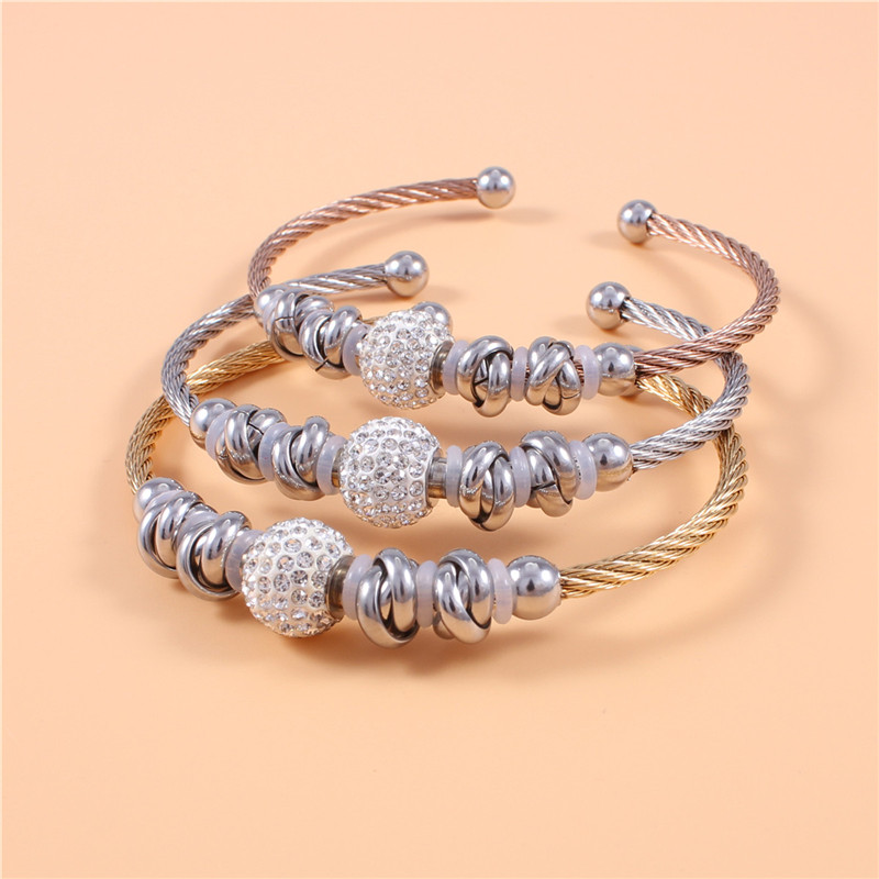 2016 Trendy Cable18K Rose/Yellow Gold Filled Crystal Ball Stainless Steel Bracelet Bangle Women Jewelry Top Quality Wholsesales(China (Mainland))