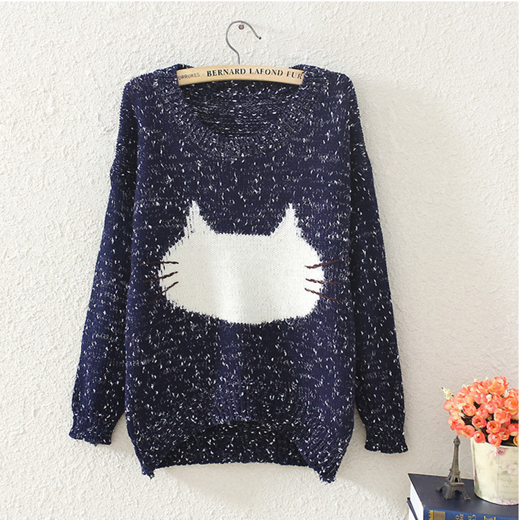 Fashion Women Sweaters and Pullovers Cute Cat Face Pattern O-Neck Long Sleeve Knitted Jumper Ladies Winter Cothes Jersey Mujer(China (Mainland))