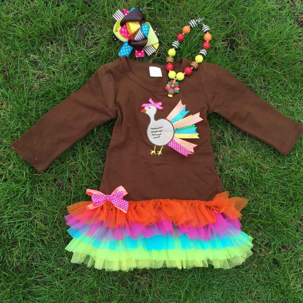 NEWEST girls thanksgiving dress kids brown turkey dress girls ruffle dress with necklace and bow(China (Mainland))