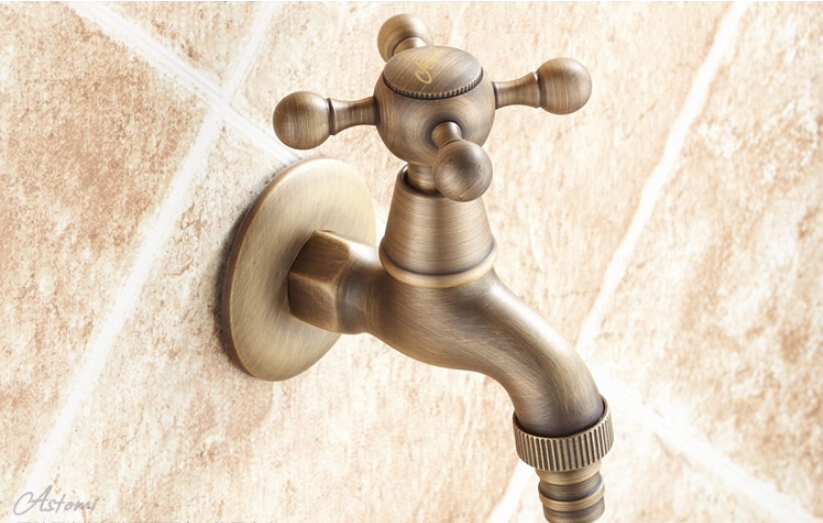 2015 New Style Anti-bronze Bibcock Faucet Brass Wall mounted Bathroom Washing Machine faucet Outdoor bathroom mixer(China (Mainland))