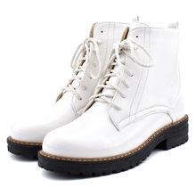 Odetina Kadın Patent Deri Rahat Platformu yarım çizmeler Yuvarlak Ayak ayak bileği bağcığı Patik Martin Çizmeler kaymaz Büyük Boy 43(China)