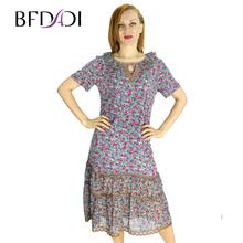 BFDADI 2016 летний стиль макси платье женские платья свободного покроя плиссированные печать танк с о-образным вырезом пят длинное платье бесплатная доставка 2138-1(China (Mainland))