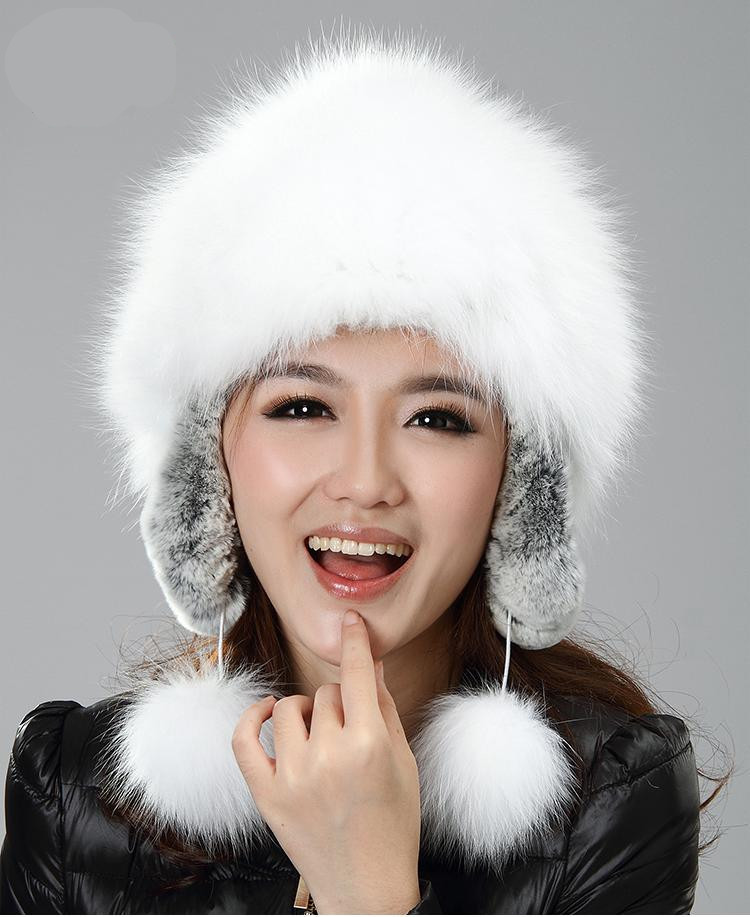 Фотография H929-autumn and winter super white natural  fox  and rex rabbit  earflap with fur pompom russian  fashion  fur hat womens