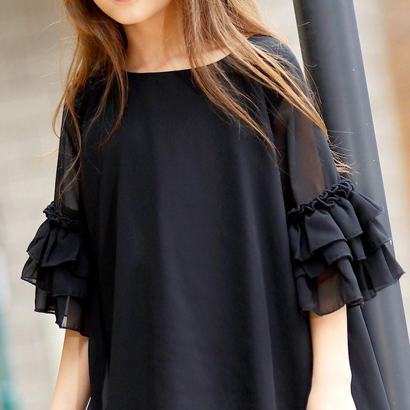 Скидки на 2016 девушки летним вечером фрок дизайн платья черный шифон ну вечеринку с оборками платье все для детская одежда и аксессуары