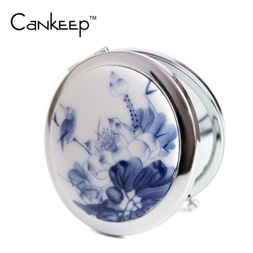 Makeup Mirror White and Blue Porcelain Pocket Mirror Compact Folded Portable Small Round Hand Mirror Makeup Vanity Metal espelho(China (Mainland))