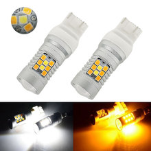 Buy 2pcs/Lot High Power T20 7443 White Ambor Dual-Color Switchback 28 SMD LED Turn Signal Brake Backup Lights Bulbs Free for $14.72 in AliExpress store
