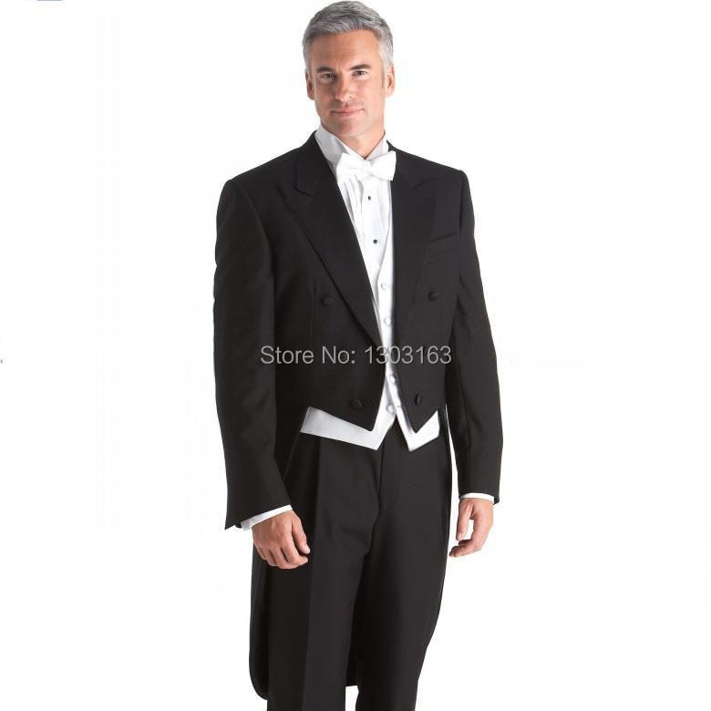 2014Custom Made Black Tailcoat Groom Tuxedos Peak Lapel Best Man Groomsmen Men Wedding Suits Bridegroom (Jacket+Pants+Vest+Tie)