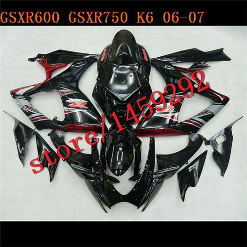 black+ red SUZUKI Motocycle Accessories GSXR 600 750 GSXR600 GSXR750 GSX-R600 Fairing Kit Frames(China (Mainland))