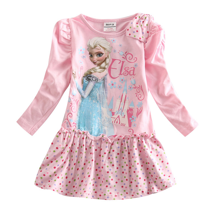 Elsa anna dress Nova kids wear New design 2015 summer girls dress princess baby clothes kids dress children dress free shipping(China (Mainland))