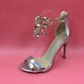 Silver Rhinestones Open Toe Women Sandals Stilettos High Heels Designer Shoes Women Luxury 2016 Summer Sandals