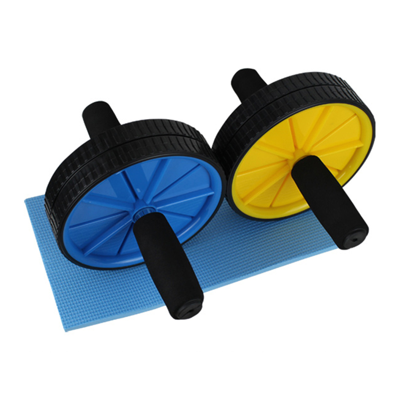 Kuangmi Noise PVC Dual Wheel Ab Roller Mat Gym Abdominal Exercise Belly Fitness Equipment Lose Weight - kuangmi sports shop store