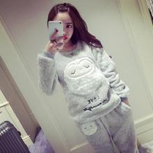 Женщин Пижамы коралловый флис пижамы женщин большие размеры утолщение овец одежды для отдыха костюм пункт теплый фланель pijamas mujer(China (Mainland))