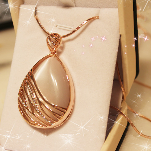 18K gold plated opal stone water drop pendant necklace accessories Long sweater Women fashion jewelry art - Yili Beauty Clothing&Accessories store