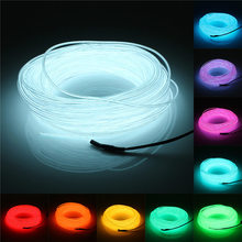 Lowest Price 20M Flexible EL Wire Soft Tube Wire Neon Glow Car Rope Strip Light Xmas Decor DC 12V 2.3mm Diameter(China (Mainland))