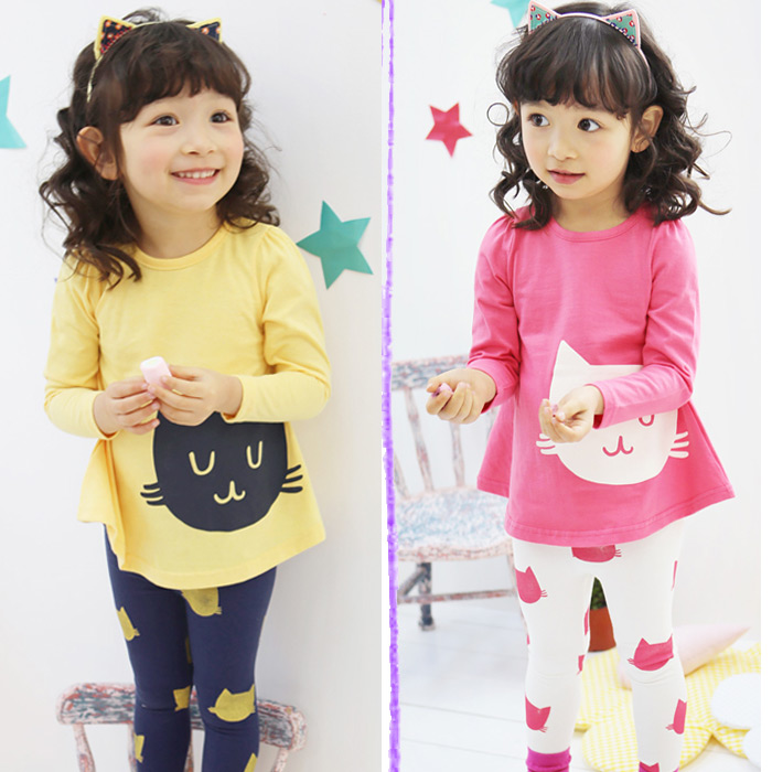 2014 autumn small cat girls clothing baby child long-sleeve T-shirt legging set kids suits for girls free shipping(China (Mainland))