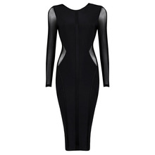 2015 Whinter Women Long sleeve Rayon Party Dress Top Quality Backless Bodycon HL bandage dress L-884