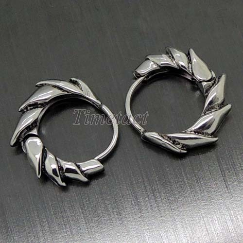 2014 New Fashion One Pair of 316L Cool Men's Silver Dragon Fin Stainless Steel Huggie Earrings stud earrings Jewelry(China (Mainland))