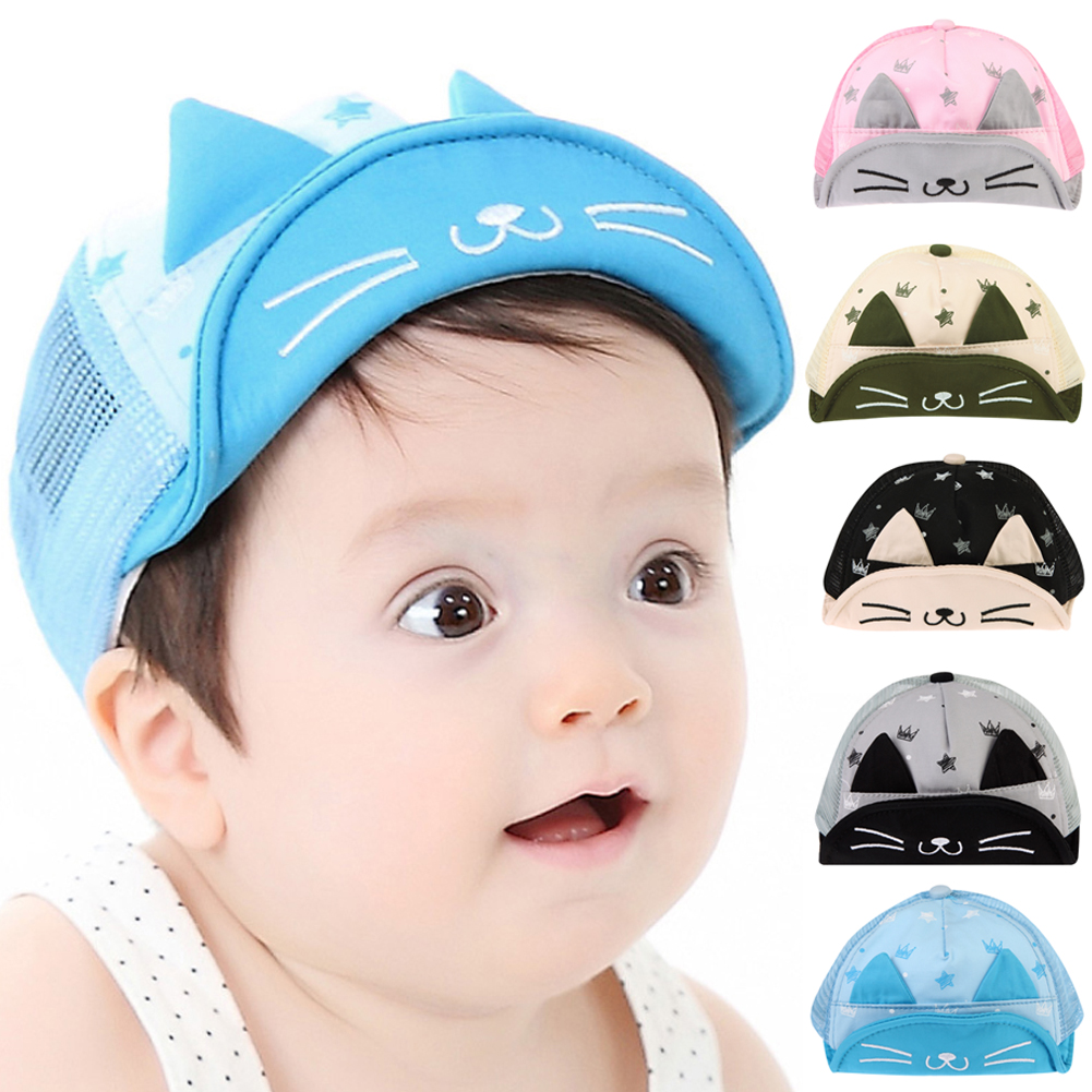 2016 New Baby Hat with Ears Beard Stars Animal Cat Cartoon Kids Baseball Hat Summer Baby Boy Girl Sun Hats Cotton Caps #LD789(China (Mainland))