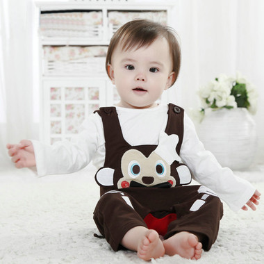 Boys Baby clothing 2015 New Arrival Baby Cute Monkey Chef Overall Romper Set Infant Climbing Clothing Set Baby Set(China (Mainland))