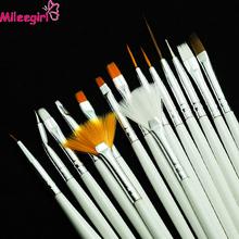 Mileegirl Nail Art Brushes Set,15pcs White Decorations Gel Painting Pen Nail Brush, Professional Nail Equipment Drawing Tool(China (Mainland))
