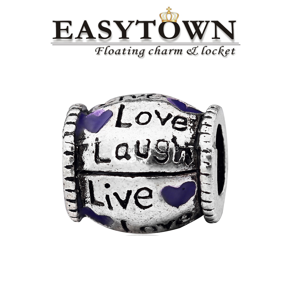 Latest fancy Zinc alloy love laugh with purple heart European beads fits bracelets free shipping(China (Mainland))