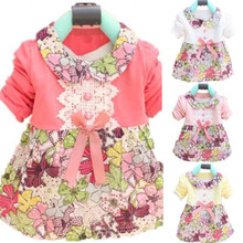 best price for New Lovely 0-2Y Baby Kids Girls Bow Floral One Piece Dress Princess Dress(China (Mainland))