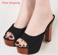 2015 women's shoes sandals platform high-heeled shoes thick heel slippers fitting room shoes clothing shoes