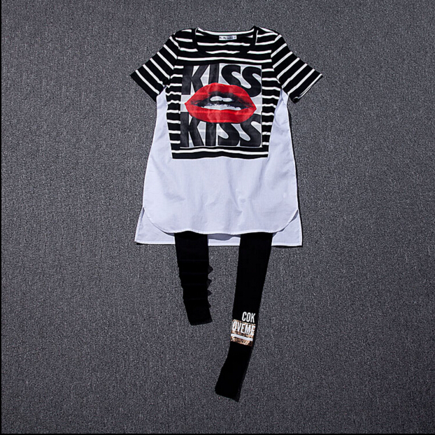 Womens T-shirt  summer womens round neck black and white striped lips letter short-sleeved big yards and long sectionОдежда и ак�е��уары<br><br><br>Aliexpress