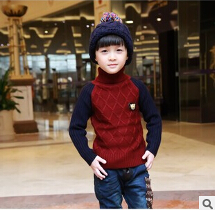 Fashion Baby Boys Wave Cut Pullovers Mixed Color Kids Turtleneck Sweater Sueter Para Nino For 3-14 Childrens Knitted Woolly E265(China (Mainland))