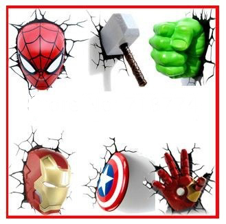 Cadeau de no l de bande dessin e the avengers captain for Lampe decoration murale 3d marteau thor