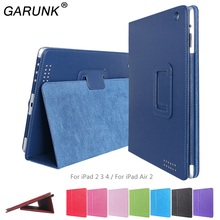 Case for iPad Air 2, GARUNK Matte Litchi Leather Flip Cover Smart Stand Protective Case for iPad 2 3 4 iPad 6 Tablet Accessories(China (Mainland))