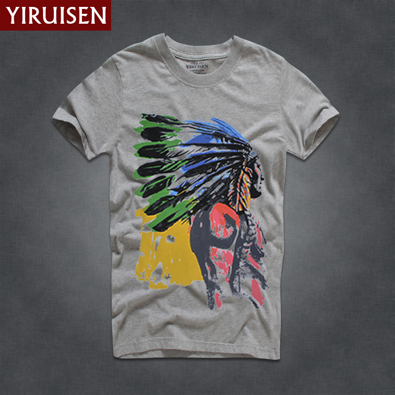 9c8c2e6f American Casual comfortable Crewneck Short sleeve Men's T-shirt Indian  Feather Headwear Crown Pattern Print