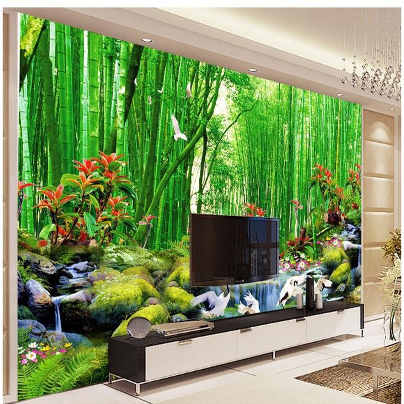 Hd bamboo murals tv backdrop 3d wall murals wallpaper for for Wallpaper images for house walls