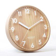 Drewniany zegar ścienny Nordic zegary ścienne nowoczesny Design kuchnia salon dekoracja wnętrz drewniany wiszący zegarek cichy okrągły 10 Cal(China)