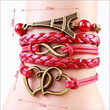 2014 Multilayer Braided Bracelets Vintage Owl Harry Potter wings infinity bracelet Multicolor woven leather bracelet Bangle