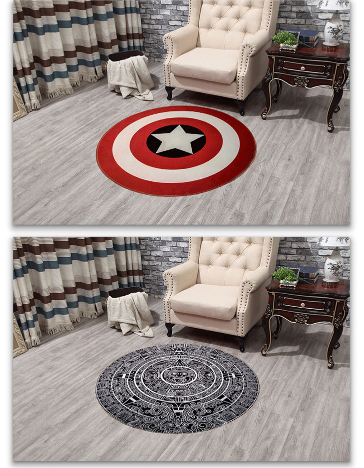 Flag Round Rugs Living Room Doormat Round Cartoon Carpets Door Floor Mat  Bedroom Anti Slip Tapete Round Rug Diameter 60cm/80cm   Us534
