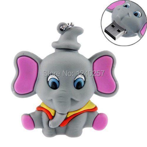 usb flash drive 64g pen drive 32g pendrive 16g 8g 4g Lovely Cartoon Elephant model Hot Sale pendrive Usb2.0 flash free shipping(China (Mainland))