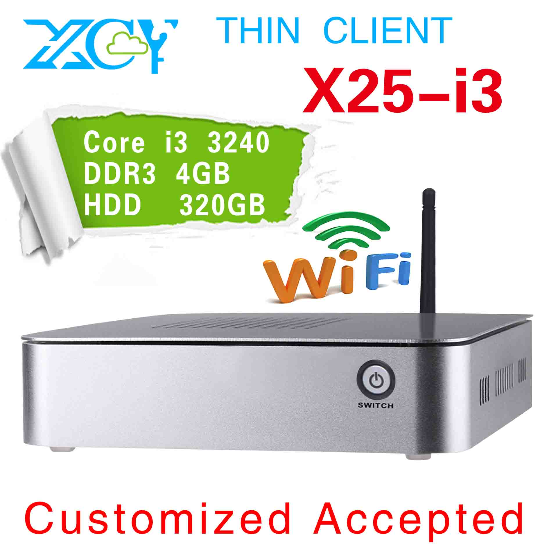 XCY X25-I3 X86 embedded computers embedded pc linux 1*HDMI support full-screen movies and 3D games(China (Mainland))