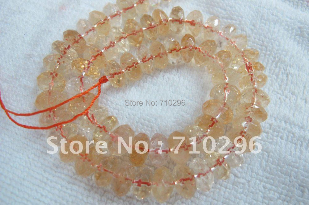 Natural Citrine Quartz 6x10 mm Faceted Roundle Citrine Gem Stone Beads.5 strings/lot,40 cm/string.Free shipping<br><br>Aliexpress