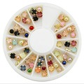 6 Colors Nail Art Nailart Half Round Pearl Beads Rhinestones Tips Manicure 3d Decoration Wheel