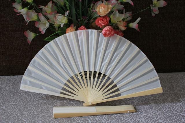 Free shipping 30pcs/lot white silk folding fan for wedding favor