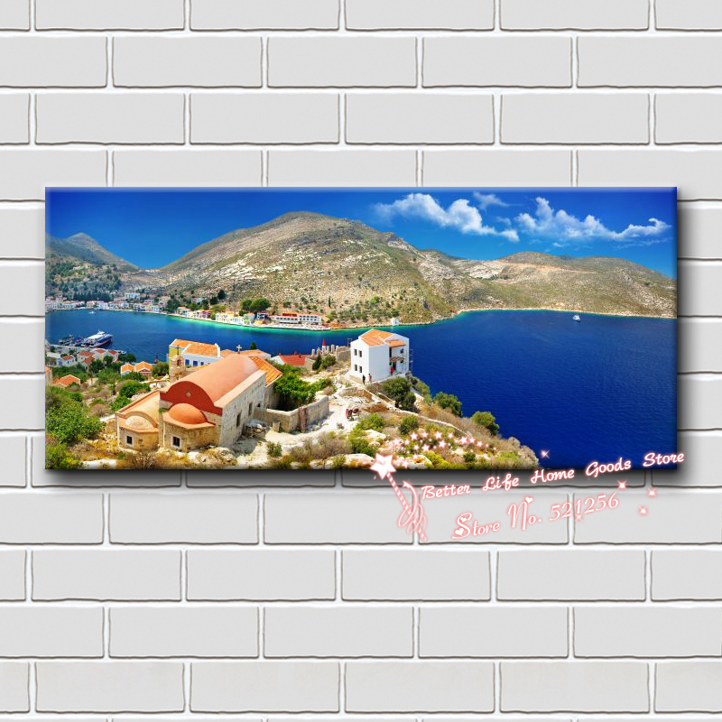 Home decoration printed oil painting canvas prints no frame NL87 mediterranean canvas art house beside deep blue sea landscapes(China (Mainland))