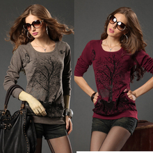 Plus size clothing spring fashion Large size pullovers sweater women new 2014 loose Knitwear shirt long-sleeve cotton t-shirt 01