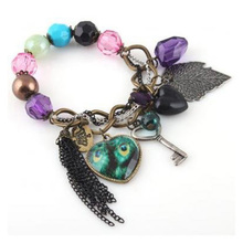 Fashion Lady Cute Nice ChArm Lovely Heart Peacock Leaf Key Bangle Bracelet ChaIn Fast Shipping(China (Mainland))