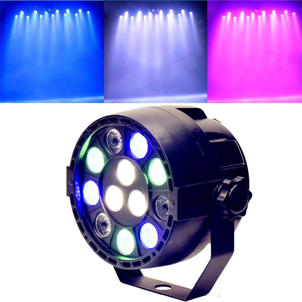 Mini Sound Activate DMX Control 12 LED RGBW Color Mixing Spotlight For Disco Party DJ Projector Lighting Effect (Black)(China (Mainland))